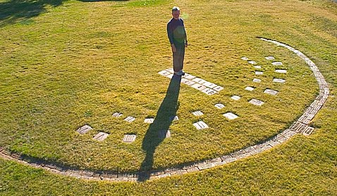 Image: A Modern day aerial view of a human sundial